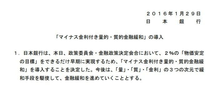 日本銀行のマイナス金利政策導入
