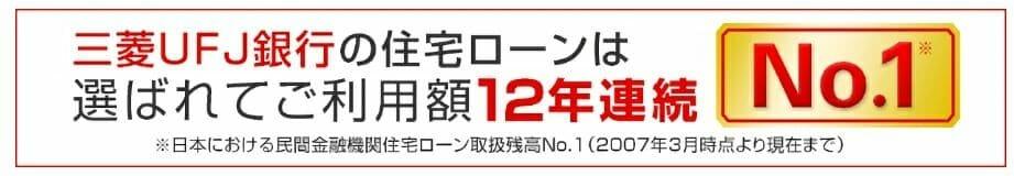 三菱UFJ銀行の住宅ローンは取り扱い残高12年連続1位