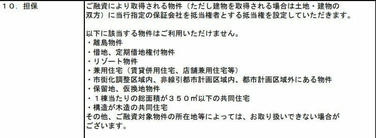 三井住友銀行の住宅ローンで利用不可な住宅物件