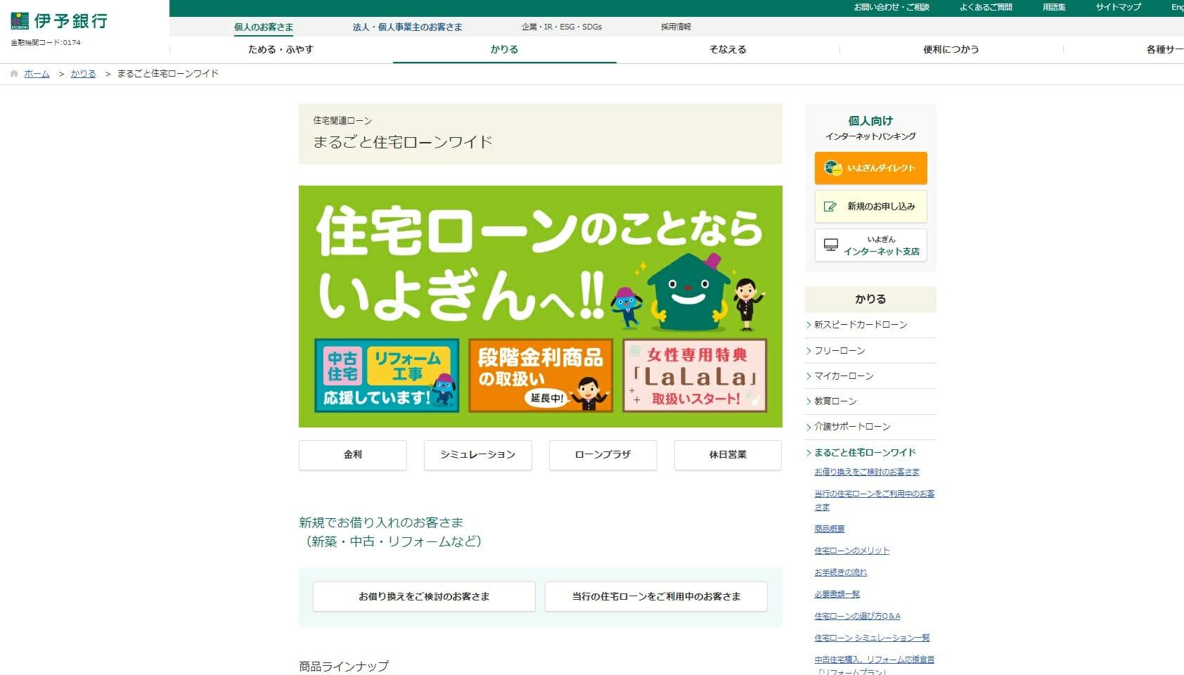 伊予銀行の住宅ローン