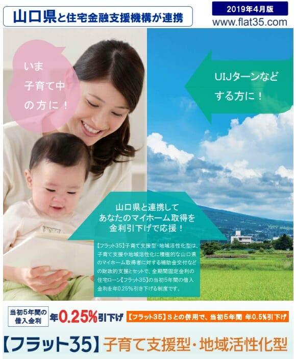 山口県と住宅金融支援機構が提携するフラット35子育て支援型・地域活性化型