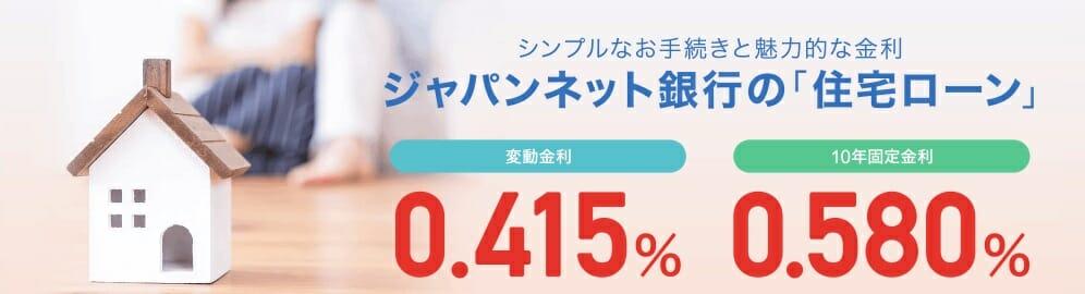 ジャパンネット銀行の2019年11月の住宅ローン金利