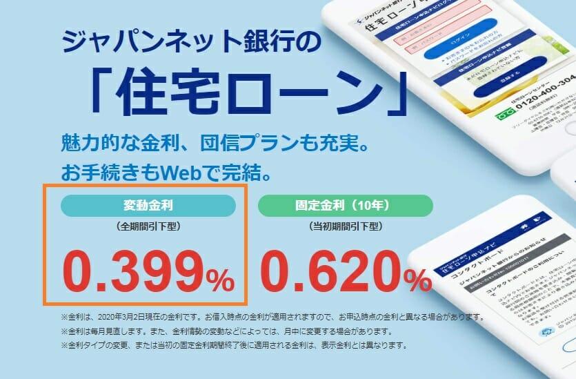 ジャパンネット銀行の2020年3月の住宅ローン金利