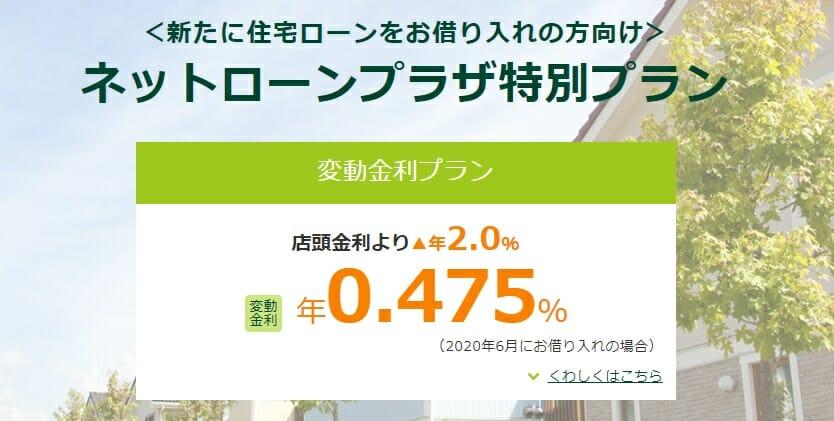 三井住友銀行の2020年6月の住宅ローン金利