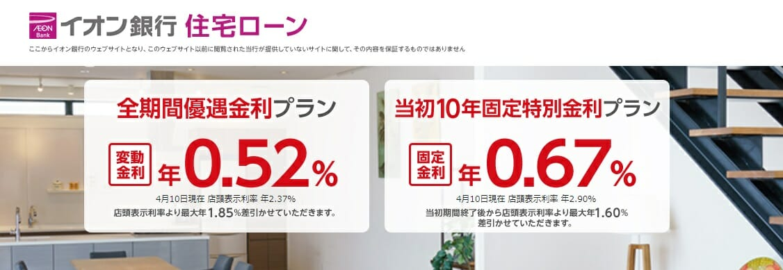 イオン銀行の2021年4月の住宅ローン金利