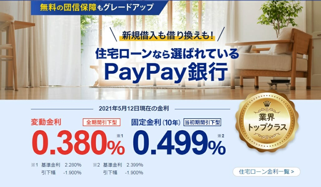 PayPay銀行の2021年5月の住宅ローン金利