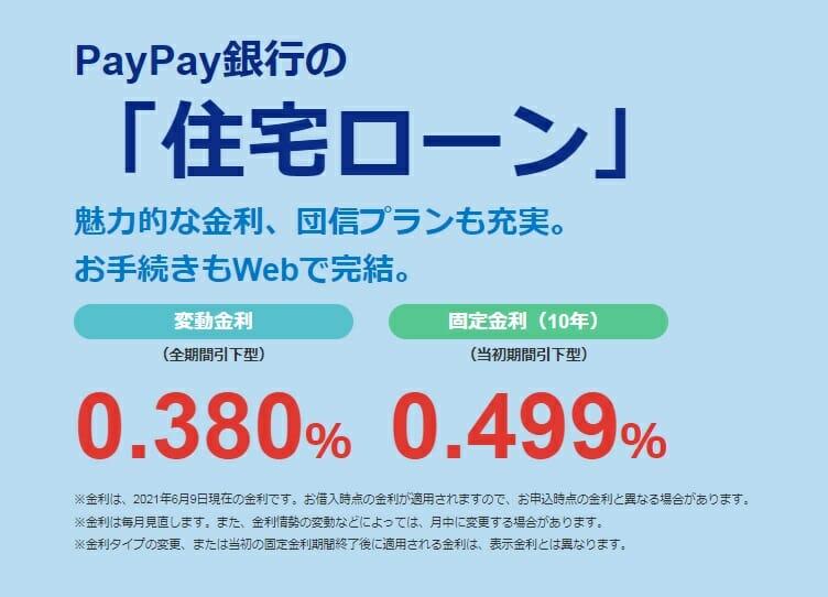 PayPay銀行の2021年6月の住宅ローン金利