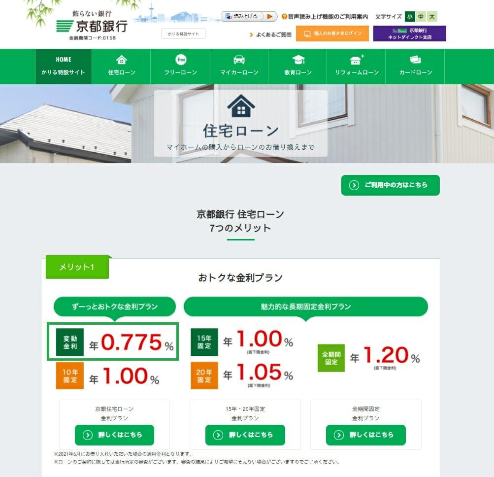 京都銀行の住宅ローン